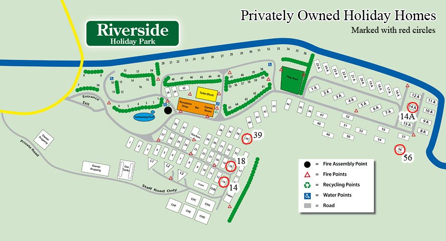 Riverside Holiday Park Privately Owned Site Map