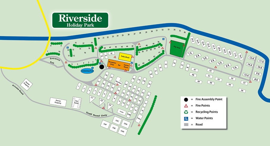 Riverside Holiday Park Site Map