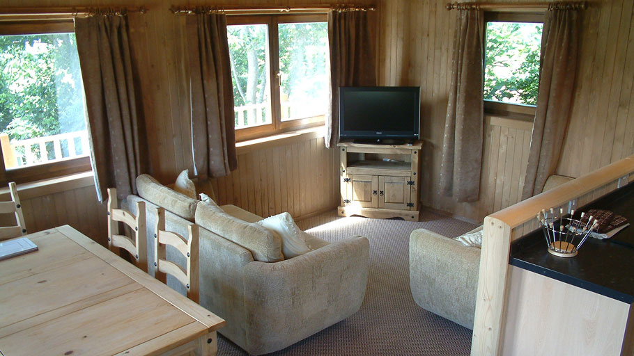 Trevilley cabin TV lounge area